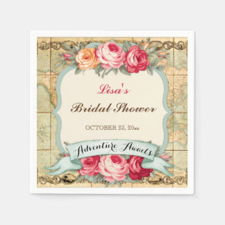 Adventure Awaits Vintage World Map Roses Napkin