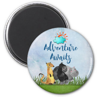 Adventure Awaits Watercolor Safari Jungle Animals Magnet