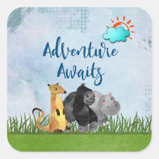 Adventure Awaits Watercolor Safari Jungle Animals Square Sticker