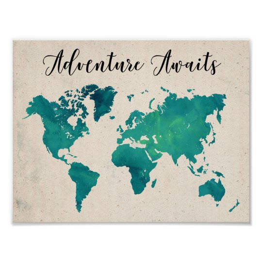 Adventure awaits watercolor world map poster zazzle adventure awaits watercolor world map poster gumiabroncs Choice Image