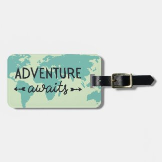 Adventure Awaits World Map Luggage Tag