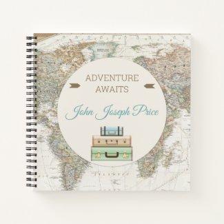 Adventure Awaits World Travel Map Modern Notebook
