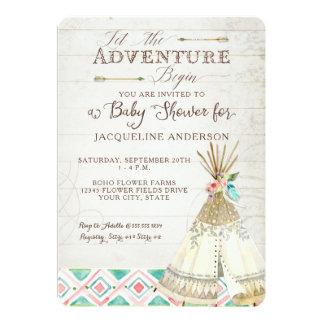 Adventure Baby Shower Girl Teepee Wood Arrows Art Card