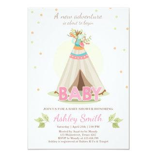Adventure baby shower invitation Girl Teepee Boho