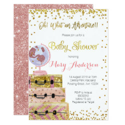 Adventure Baby Shower Invitation Gold Glitter