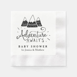 Adventure Baby Shower Napkins with Cute Mountains