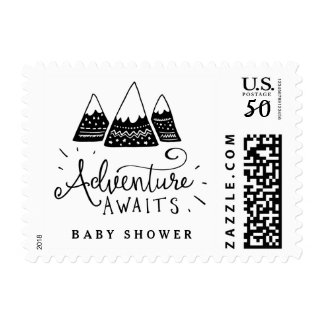 Adventure Baby Shower Postage with Cute Mountains