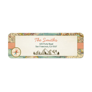 World map shipping address return address labels zazzle adventure begins address labels vintage world map gumiabroncs Choice Image