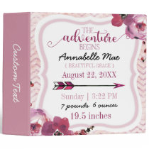 Adventure Begins Baby Girl Birth Stats Scrapbook Binder