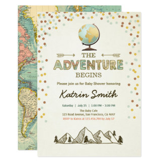 Adventure begins Baby shower invitation Globe map