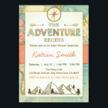 "Adventure begins Baby shower invite Travel Map<br><div class=""desc"">♥ A cute and fun baby shower invite for your little one on the way! With an adventure / travel theme.</div>"