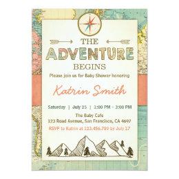 Adventure begins Baby shower invite Travel Map