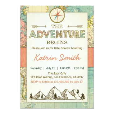 Anietillustration Adventure begins Baby shower invite Travel Map