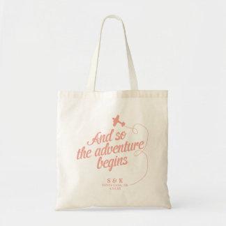 Adventure Begins   Destination Wedding - Pink Tote Bag