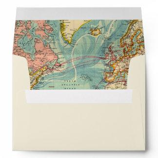 Adventure Begins Envelope World Map Vintage