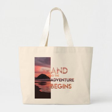 Adventure Begins Large Tote Bag
