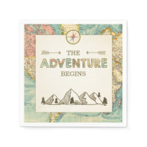 Adventure begins Paper Napkin World map Travel
