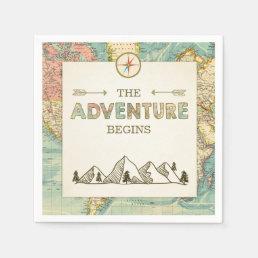 Adventure begins Paper Napkin World map Travel