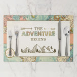 """Adventure Begins Placemat World Map Vintage<br><div class=""""desc"""">A wonderful addition to your party! Adventure Begins Theme.</div>"""