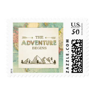 Adventure Begins Stamps Travel Places World map