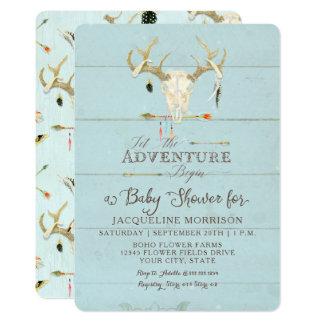 Adventure Boy Baby Shower Teepee Wood Arrows Deer Card