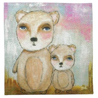 Adventure Day Woodland Bear Art Painting Cloth Napkin