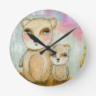 Adventure Day Woodland Bear Art Painting Round Clock