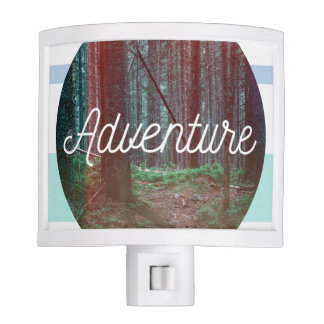 Adventure Forest Circle, Striped Background Night Light