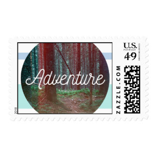 Adventure Forest Circle, Striped Background Postage