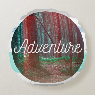 Adventure Forest Circle, Striped Background Round Pillow