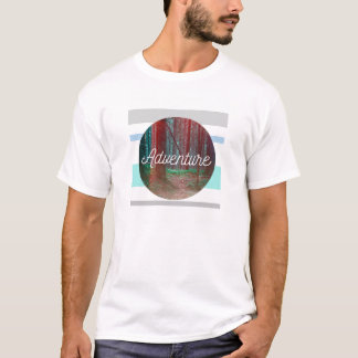 Adventure Forest Circle, Striped Background T-Shirt
