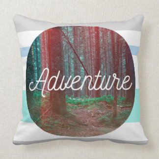 Adventure Forest Circle, Striped Background Throw Pillow