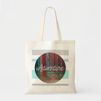 Adventure Forest Circle, Striped Background Tote Bag