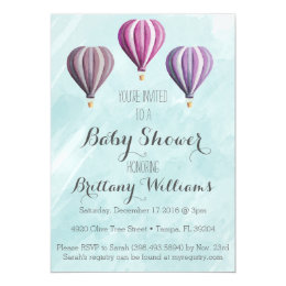 Adventure Hot Air Balloon Baby Shower Invitation