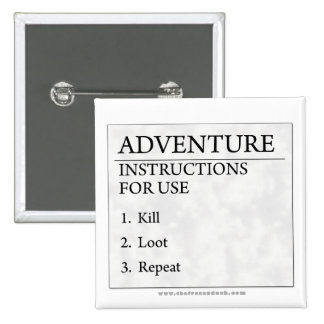 Adventure Instructions 2 Inch Square Button
