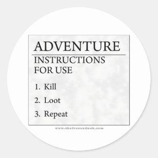 Adventure Instructions Classic Round Sticker