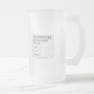 Adventure Instructions Frosted Glass Beer Mug