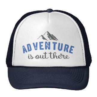 Adventure is out there typography quote hat Blue