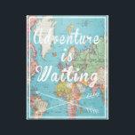 "Adventure is Waiting Vintage World Map Canvas<br><div class=""desc"">Adventure is waiting vintage world map canvas print</div>"