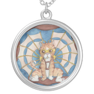 Adventure Kitty Round Pendant Necklace