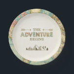 "Adventure Paper Plates Travel World map Shower<br><div class=""desc"">♥ A perfect addition to your party! Adventure theme.</div>"
