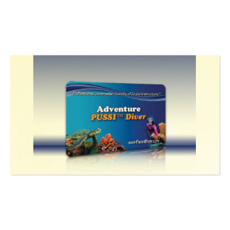 """Adventure PUSSI Diver"" Certification Card Double-Sided Standard Business Cards (Pack Of 100)"