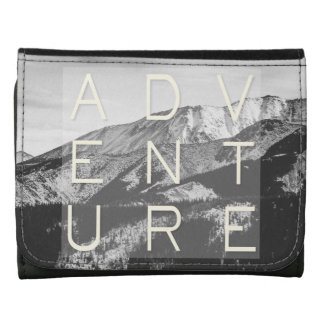 Adventure Quote, Black and White Mountains Wallets