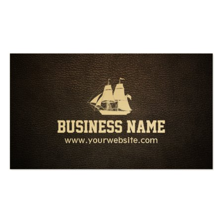 Sail Boat on Faux Vintage Dark Brown Leather Print Boating Business Cards