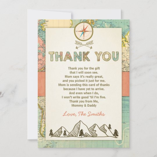 Adventure thank you card Travel Map Baby Birthday on map code, map label, map of bern and dreilinden, map pen, map color, map of croom motorcycle area, map button, map frame, map table, map beach, map list, map plastic, map craft,