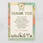 "Adventure thank you card Travel Map Baby Birthday<br><div class=""desc"">♥ A cute and fun baby shower thank you card to thank your guests! Adventure theme.</div>"