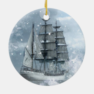 adventure winter snow storm vintage pirate ship ceramic ornament