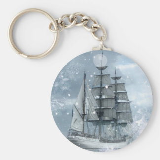 adventure winter snow storm vintage pirate ship keychain