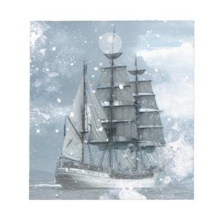 adventure winter snow storm vintage pirate ship notepad