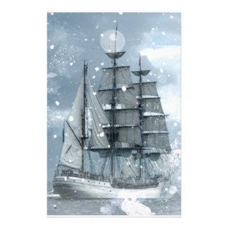 adventure winter snow storm vintage pirate ship stationery